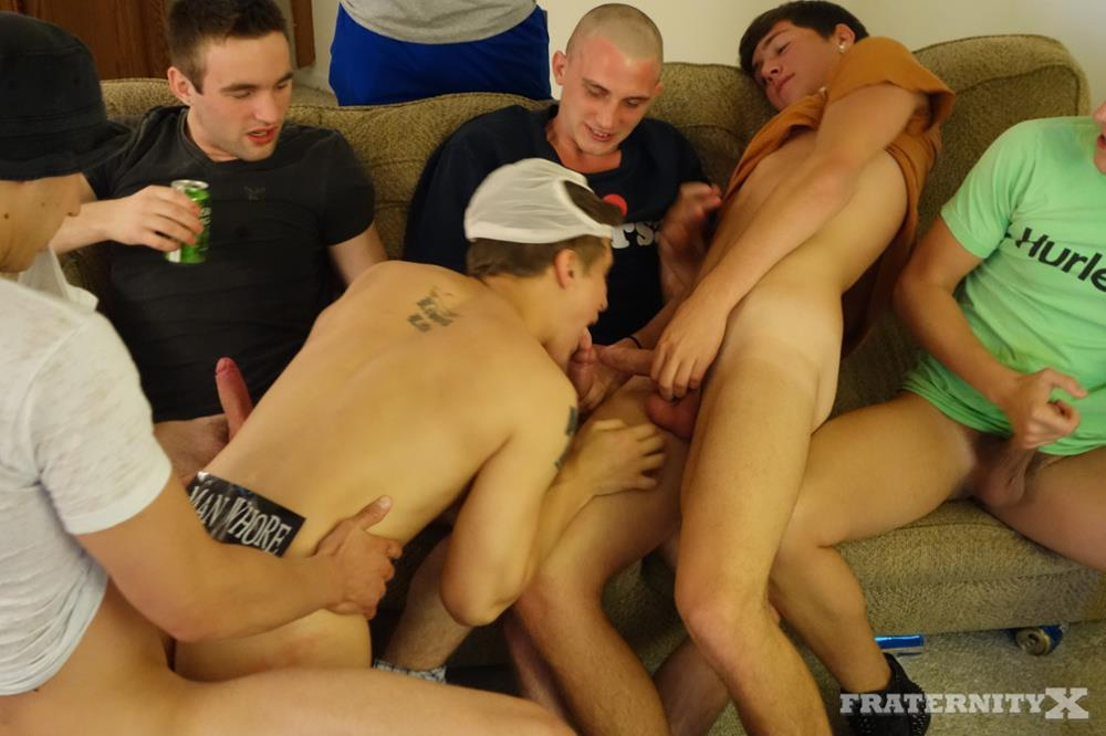 FraternityX Frat Boys With Big Cocks Bareback Gangbang Amateur Gay Porn 08 Straight Texas Fraternity Guys In an Amateur Bareback Gangbang
