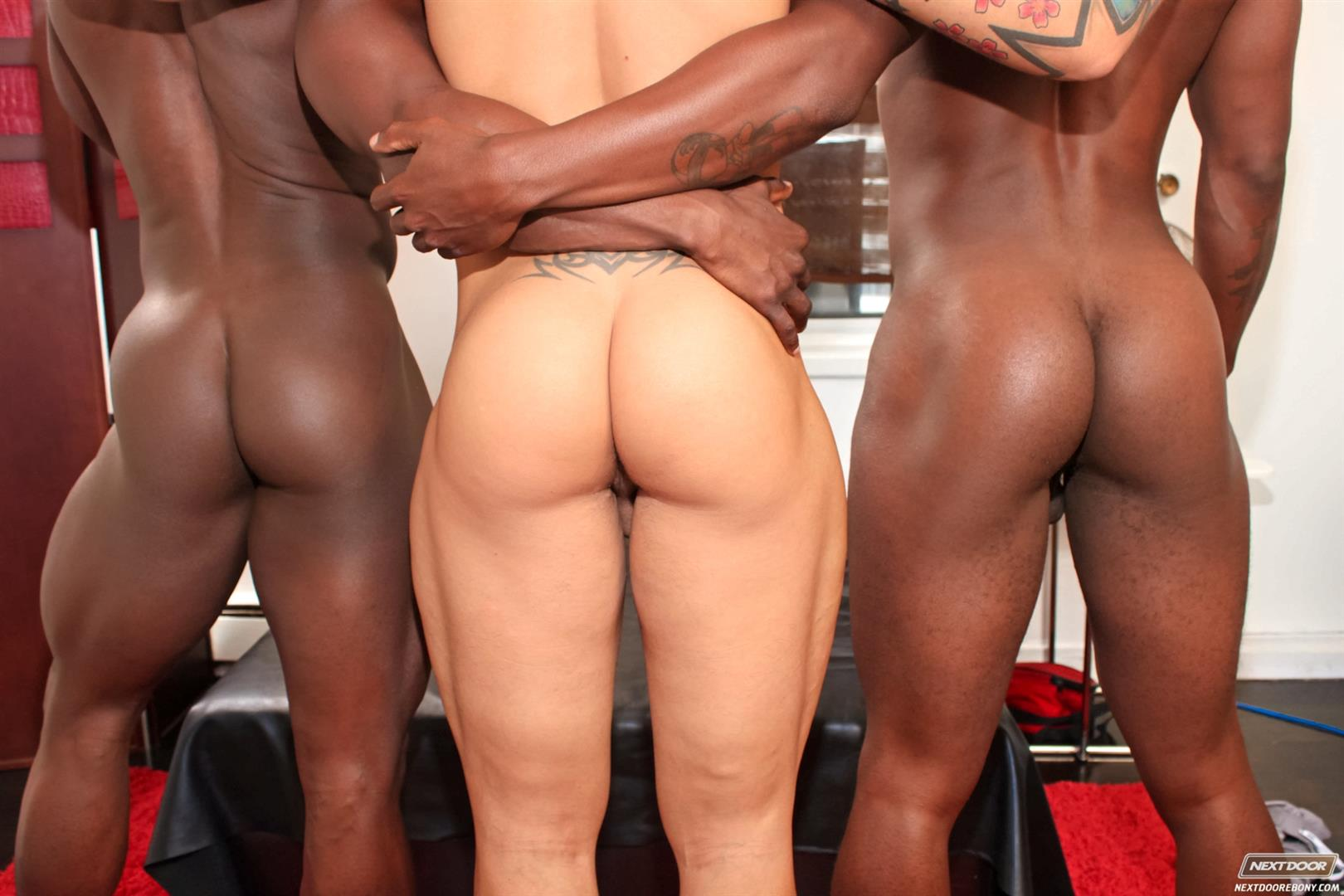 Interracial gay black muscle stud