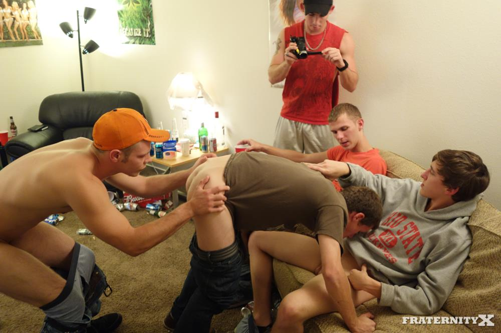 Fraternity X Chris Frat Guys Barebacking and Eating Cum Amateur Gay Porn 05 Frat Guys Barebacking The Frat Slut And Feeding Him Cum