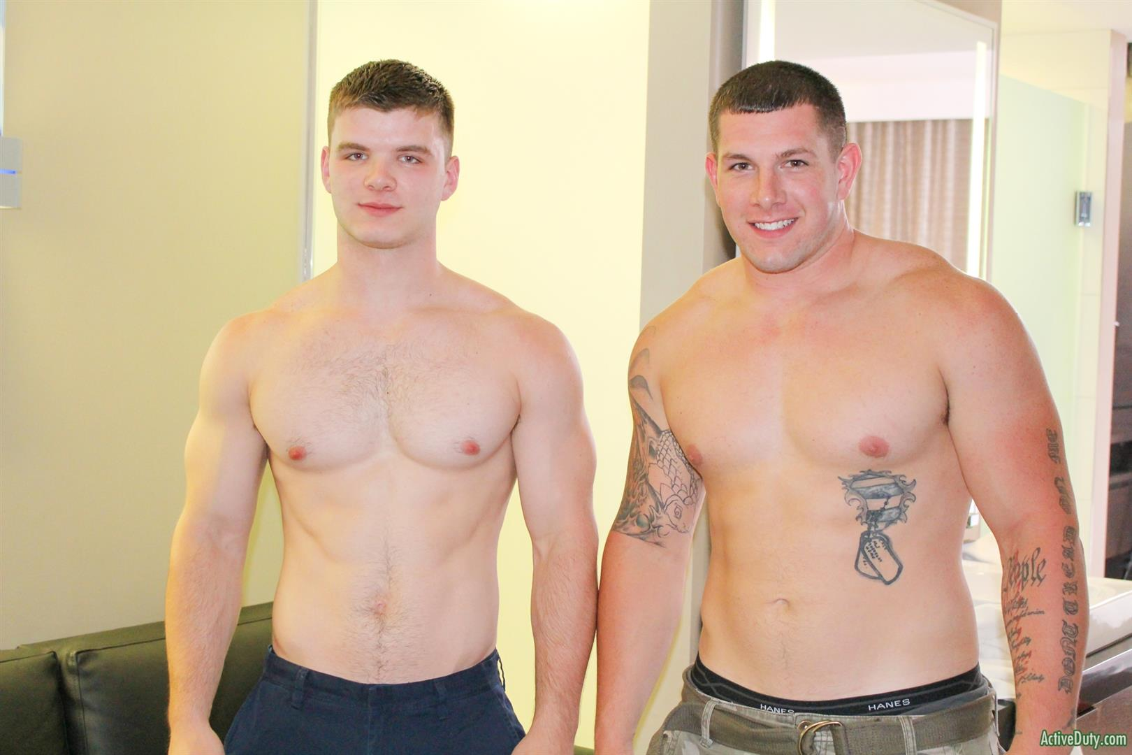 Active-Duty-Jeremy-Diesell-and-Ivan-Muscular-Army-Guys-Barebacking-Amateur-Gay-Porn-04 Straight Muscular Army Buddies Sharing A First Time Bareback Fuck